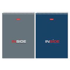 """Блокнот А5 (145х205 мм), 80 л., гребень, картон, жесткая подложка, клетка, HATBER, """"INSIDE"""" (""""Офисный""""), 80Б5С1гр"""