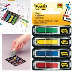 Закладки клейкие POST-IT, пластиковые, 12 мм, 4 цвета х 24 шт.