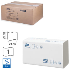 Полотенца бумажные 250 штук, TORK (Система H3) Universal, КОМПЛЕКТ 20 штук, натуральные белые, 23х23, ZZ(V)