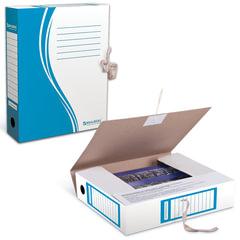 Папка архивная с завязками А4 (325х260 мм), 75 мм, до 700 листов, плотная, микрогофрокартон, СИНЯЯ, BRAUBERG, 124853