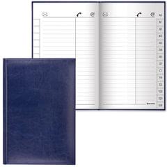 "Телефонная книжка А5 (136х202 мм), BRAUBERG ""Imperial"", под гладкую кожу, 96 л., вырубной алфавит, темно-синяя, 125040"