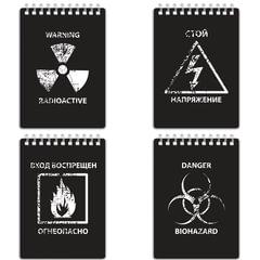 "Блокнот МАЛЫЙ ФОРМАТ (105х148 мм) А6, 80 л., гребень, пластик-шелкография, клетка, BRAUBERG, ""Danger"", 125380"