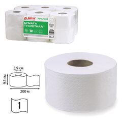 Бумага туалетная 200 м, LAIMA (T2), ADVANCED, 1-слойная, цвет белый, КОМПЛЕКТ 12 рулонов, 126093