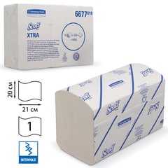 Полотенца бумажные 320 шт., KIMBERLY-CLARK Scott, КОМПЛЕКТ 15 шт., Xtra, белые, 21х20 см, Interfold, диспенсер 601533
