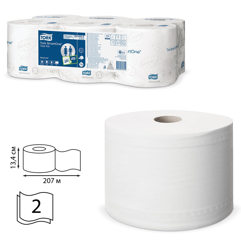 Бумага туалетная 207 м, TORK (Система T8) SmartOne, комплект 6 шт., Advanced, 2-слойная, белая