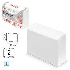 Полотенца бумажные (1 пачка 190 листов) LAIMA (H2) PREMIUM UNIT PACK, 2-слойные, белые, 23х21 см, Z-сложение, 126559