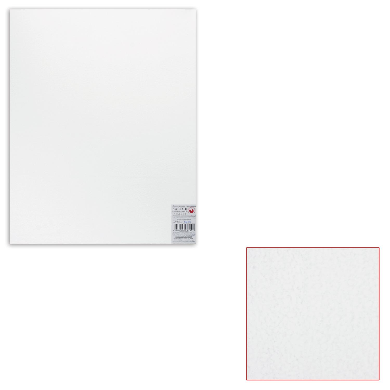 Картон белый грунтованный для живописи, 40х50 см, двусторонний, толщина 2 мм, акриловый грунт