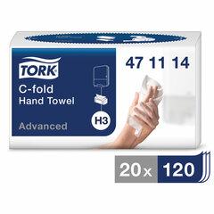 Полотенца бумажные (1 пачка 120 листов) TORK (H3) Advanced, 2-слойные, белые, 24х27,5, С-сложение, 471114