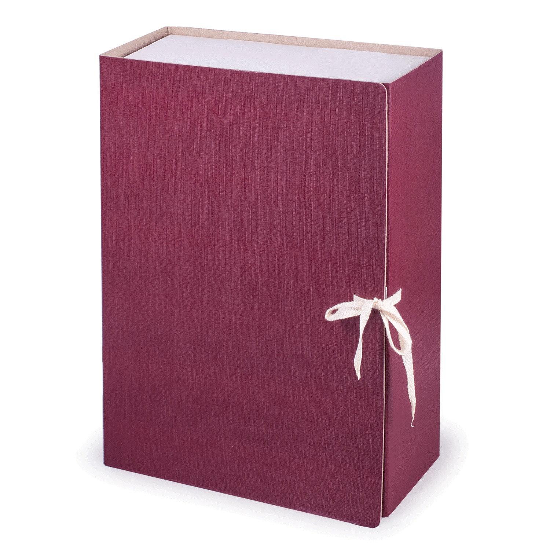 Короб архивный (240х330 мм), 120 мм, 2 завязки, бумвинил, до 1000 листов, бордовый, STAFF, 126901