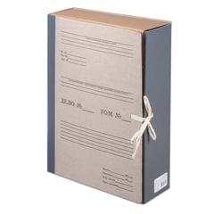 Короб архивный (240х330 мм), 80 мм, 2 завязки, переплетный картон/бумвинил, до 700 листов, STAFF, 126902