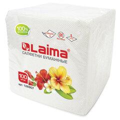 Салфетки бумажные 100 шт., 24х24 см, LAIMA/ЛАЙМА, белые, 100% целлюлоза, 126907