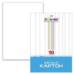 Картон белый А4 МЕЛОВАННЫЙ, 10 листов, в папке, HATBER, 205х295 мм, Creative Set, 10Кб4 05806