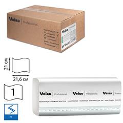 Полотенца бумажные 250 шт., VEIRO (Система F1), комплект 15 шт., Basic, белые, 21х21,6, V, KV104