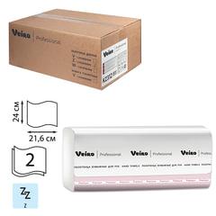 Полотенца бумажные 200 шт., VEIRO (Система H2), комплект 21 шт., Premium, 2-слойные, белые, 24х21,6 см, Z, растворимые, KZ312
