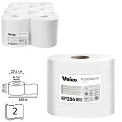 Полотенца бумажные с центральной вытяжкой VEIRO (Система C1), комплект 6 шт., Comfort, 180 м, 2-слойные, белые, KP206