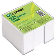 """Блок для записей СТАММ """"Офис"""" в подставке прозрачной, куб 9х9х5 см, белый, белизна 90-92%, БЗ 53"""