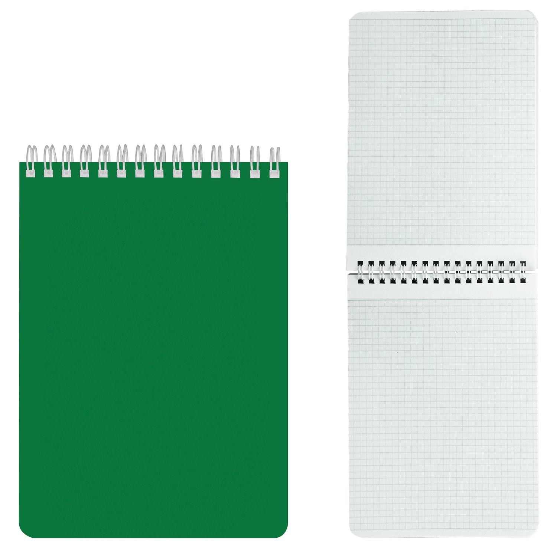 """Блокнот А5 (145х212 мм), 60 л., гребень, лакированная обложка, клетка, HATBER, """"Зелёный"""", 60Б5В1гр"""