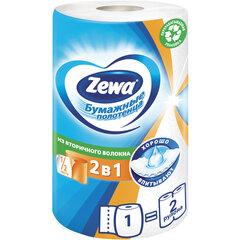 """Полотенце бумажное бытовое 2-х слойное, 1 рулон (1х30 м), белое, ZEWA """"2 в 1"""", 144111"""