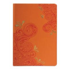 """Бизнес-блокнот BRAUBERG, А5, 148х218 мм, """"Orient"""", кожзаменитель с тиснением, клетка, 128 л., оранжевый"""