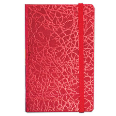 "Бизнес-блокнот BRAUBERG, А7+, 95х145 мм, ""Irida"", кожзаменитель металлик, резинка, линия, 64 л., красный"