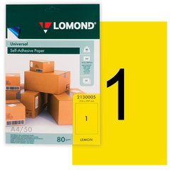 Этикетка самоклеящаяся 210х297 мм, 1 этикетка, лимонно-желтая, 80 г/м2, 50 листов, LOMOND, 2130005