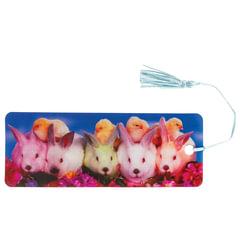 """Закладка для книг с линейкой, 3D-объемная, BRAUBERG """"Кролики и цыплята"""", с декоративным шнурком, 128097"""