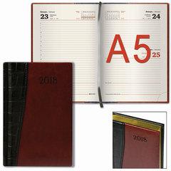 """Ежедневник датированный 2018, А5, BRAUBERG """"Cayman"""", комбинированный, кремовый блок, золотой срез, черный/коричневый, 138х213 мм"""