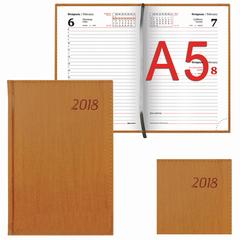 "Ежедневник 2018, А5, BRAUBERG (БРАУБЕРГ) ""Natural"", ""стильная кожа"", коричневый, 168 л., 138х213 мм"