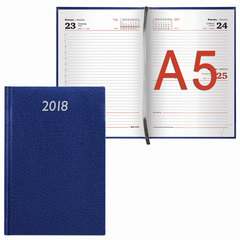 "Ежедневник 2018, А5, BRAUBERG (БРАУБЕРГ) ""Profile"", ""фактурная кожа"", синий, 168 л., 138х213 мм"