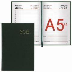 """Ежедневник датированный 2018, А5, BRAUBERG """"Select"""", """"кожа классик"""", зеленый, 138х213 мм"""