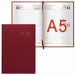 "Ежедневник 2018, А5, BRAUBERG (БРАУБЕРГ) ""Select"", ""кожа классик"", красный, 168 л., 138х213 мм"