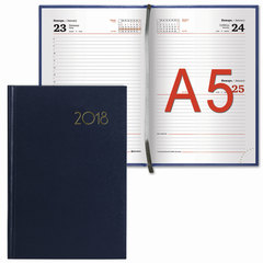 "Ежедневник 2018, А5, BRAUBERG (БРАУБЕРГ) ""Select"", ""кожа классик"", темно-синий, 168 л., 138х213 мм"