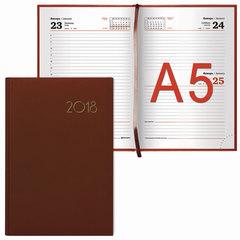 """Ежедневник датированный 2018, А5, BRAUBERG """"Select"""", """"кожа классик"""", коричневый, 138х213 мм"""