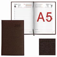 """Ежедневник датированный 2018, А5, BRAUBERG """"Move"""", """"джинсовая кожа"""", коричневый, 138х213 мм"""