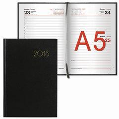 """Ежедневник датированный 2018, A5 (ЕВРО), BRAUBERG """"Select"""", """"кожа классик"""", черный, 130х215 мм"""