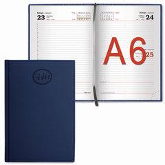"Ежедневник датированный 2018, А6, BRAUBERG ""Favorite"", ""фактурная кожа"", темно-синий, 100х150 мм"