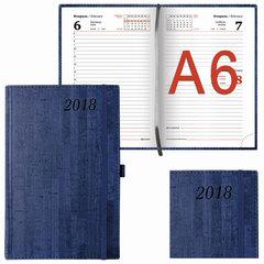 """Ежедневник датированный 2018, А6, BRAUBERG """"Wood"""", """"благородное дерево"""", синий, 100х150 мм"""
