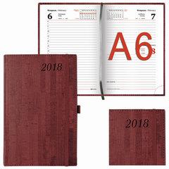 """Ежедневник датированный 2018, А6, BRAUBERG """"Wood"""", """"благородное дерево"""", бордовый, 100х150 мм"""