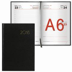 """Ежедневник датированный 2018, А6, BRAUBERG """"Select"""", """"кожа классик"""", черный, 100х150 мм"""