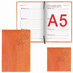 """Еженедельник датированный 2018, А5, BRAUBERG """"Rainbow Croc"""", """"кожа крокодила"""", оранжевый, 145х215 мм"""