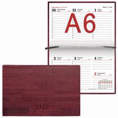 """Еженедельник датированный 2018, А6, BRAUBERG """"Wood"""", """"благородное дерево"""", бордовый, 95х155 мм"""