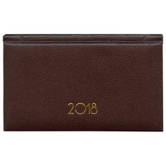 """Еженедельник датированный 2018, А6, BRAUBERG """"Select"""", """"кожа классик"""", коричневый, 95х155 мм"""