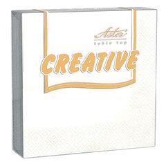 """Салфетки бумажные, 20 шт., 24х24 см, 3-х слойные, ASTER """"Creative"""", белые, 100% целлюлоза, арт. 00998/15"""
