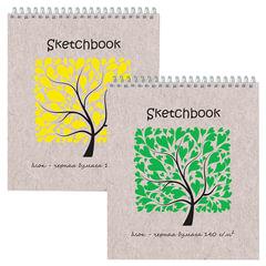 Блокнот для эскизов (скетчбук), черная бумага, А5+, 170х200 мм, 140 г/м2, 20 листов, гребень, жёсткая подложка