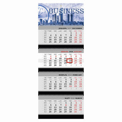 """Календарь квартальный на 2018 г., HATBER, Бизнес, 4-х блочный, на 4-х гребнях, """"Деловой мир"""", 4Кв4гр3 16868"""