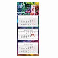 """Календарь квартальный на 2018 г., HATBER, Люкс, 3-х блочный, на 3-х гребнях, """"Жизнь в цвете"""", 3Кв3гр2 16842"""
