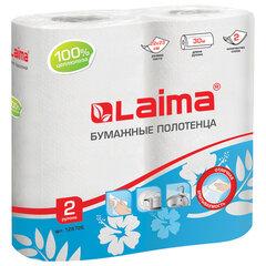 Полотенца бумажные бытовые, спайка 2 шт., 2-х слойные, (2х30 м), LAIMA/ЛАЙМА, 22х23 см, белые, 128726