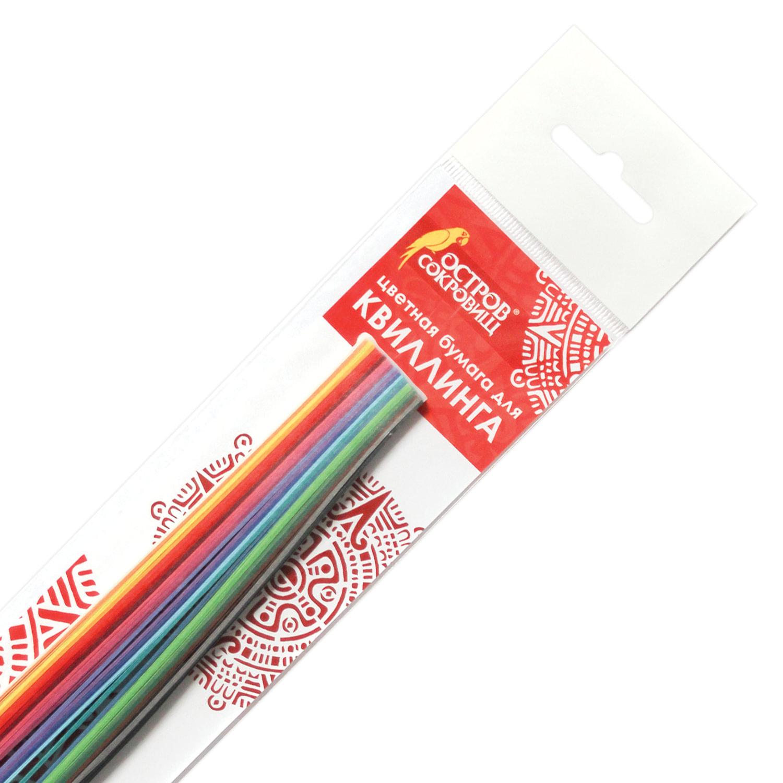 """Бумага для квиллинга """"Цветная глазурь"""", 24 цвета, 120 полос, 7 мм х 300 мм, 130 г/м2, ОСТРОВ СОКРОВИЩ, 128737"""