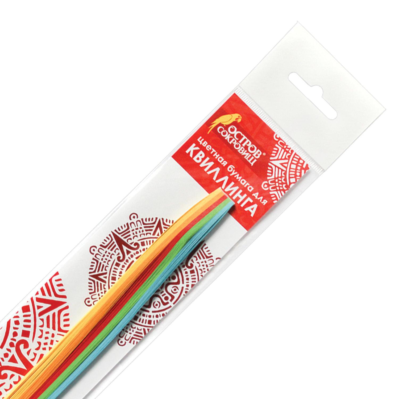 """Бумага для квиллинга """"Яркие цвета"""", 5 цветов, 100 полос, 3 мм х 300 мм, 80 г/м2, ОСТРОВ СОКРОВИЩ, 128747"""