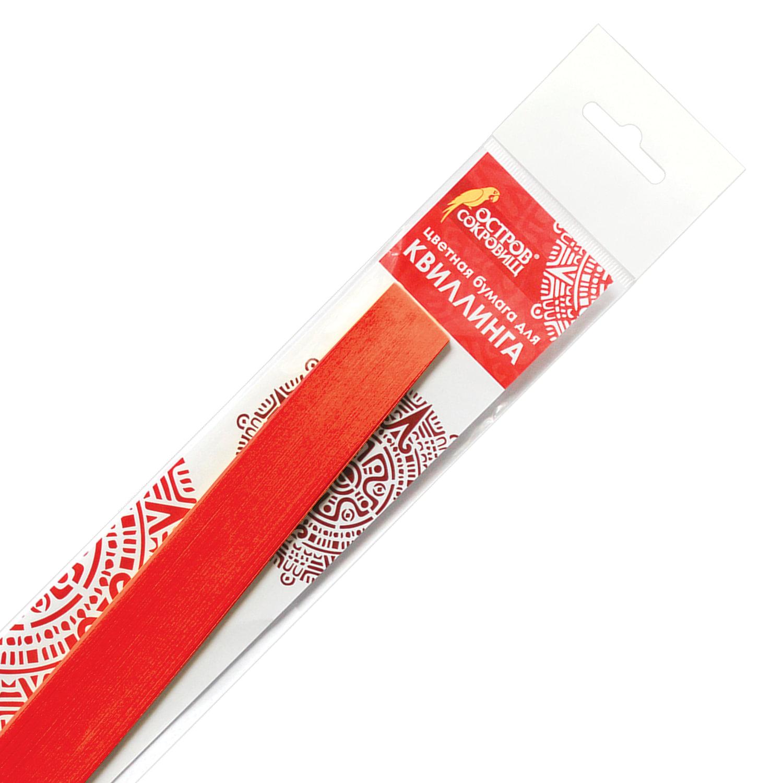 Бумага для квиллинга оранжевая, 125 полос, 5х300 мм, 130 г/м2, ОСТРОВ СОКРОВИЩ, 128767